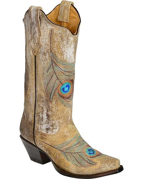 Corral Distressed Bone Feather Embroidery Cowgirl Boots - Snip Toe