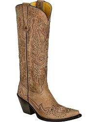 Corral Studded Bone Leather Cowgirl Boots - Snip T at Sheplers