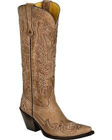 Corral Studded Bone Leather Cowgirl Boots - Snip Toe
