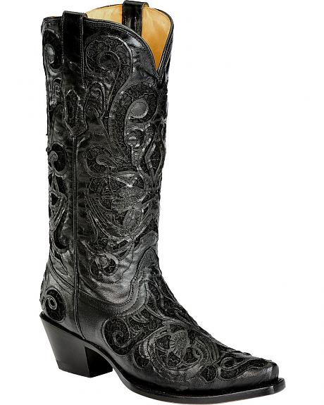 Corral Goatskin Lace Inlay Cowgirl Boots - Snip Toe