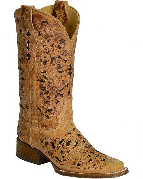 Corral Antique Saddle Inlay Cowgirl Boots - Square Toe