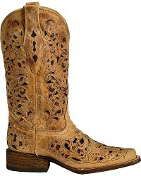 Corral Antique Saddle Inlay Cowgirl Boots - Square at Sheplers