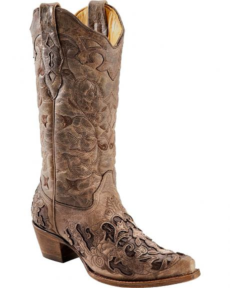 Corral Distressed Tobacco Caiman Inlay Cowgirl Boots - Snip Toe