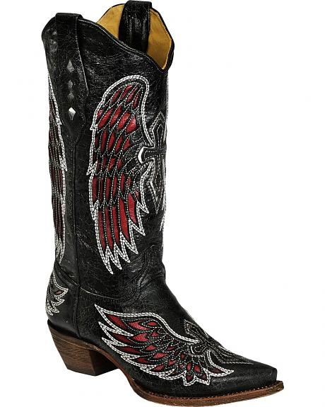 Corral Red Cross & Wing Inlay Cowgirl Boots - Snip Toe