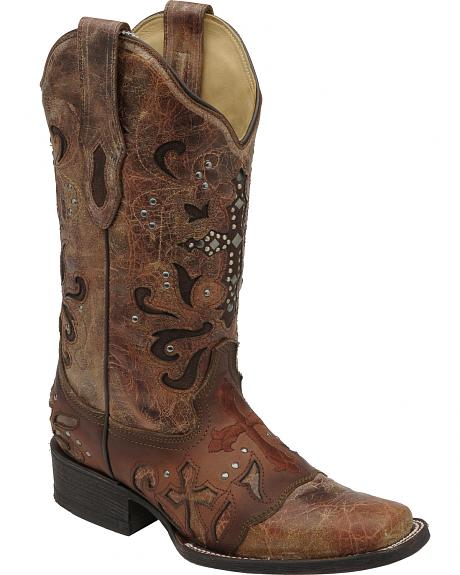 Corral Women's Cognac Metal Cross Cowgirl Boots - Square Toe