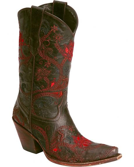 Lucchese Handcrafted 1883 Oklahoma Gardenia Floral Embroidered Boots - Snip Toe