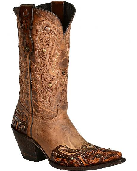 Lucchese Handcrafted 1883 Camel Lucille Cowgirl Boots - Snip Toe