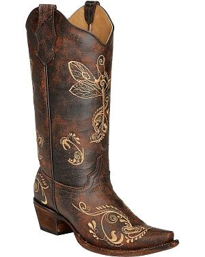 Circle G Distressed Bone Dragonfly Embroidered Boots - Snip Toe