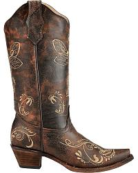 Circle G by Corral Distressed Bone Dragonfly Embroidered Boots - Snip Toe at Sheplers