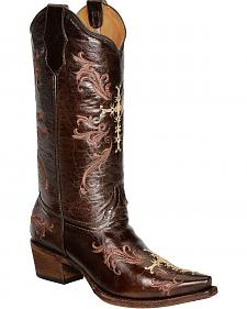 Circle G Chocolate Cross Embroidered Cowgirl Boots - Snip Toe
