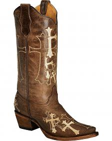 Circle G Beige Cross Embroidered Cowgirl Boots - Snip Toe