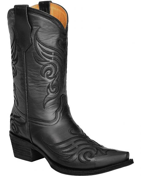Circle G Black Butterfly Embroidered Cowgirl Boots - Snip Toe