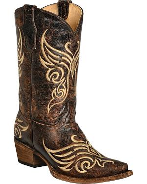 Circle G Distressed Bone Embroidered Cowgirl Boots - Snip Toe