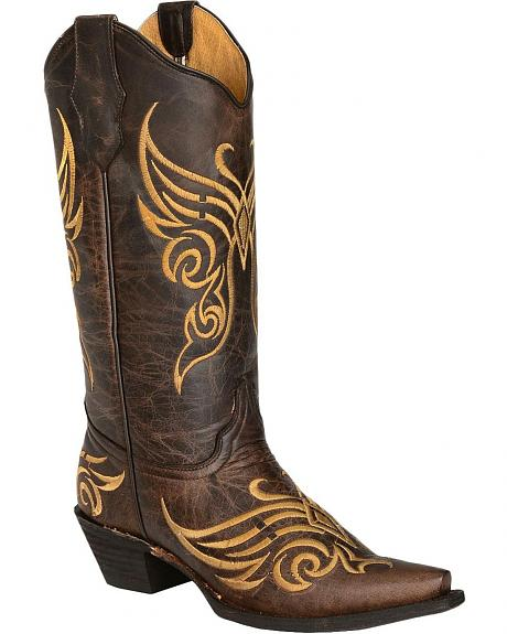 Circle G Tobacco Butterfly Embroidered Cowgirl Boots - Snip Toe