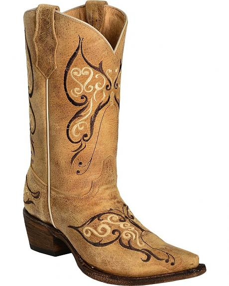 Circle G Beige Butterfly Embroidered Cowgirl Boots - Snip Toe