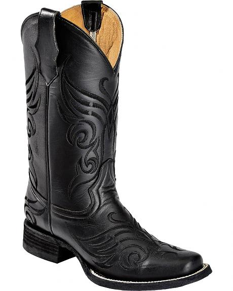 Circle G Black Tribal Butterfly Embroidered Cowgirl Boots - Square Toe