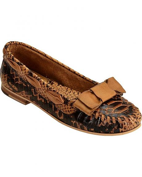 Spirit by Lucchese Embossed Bone Python Moccasins