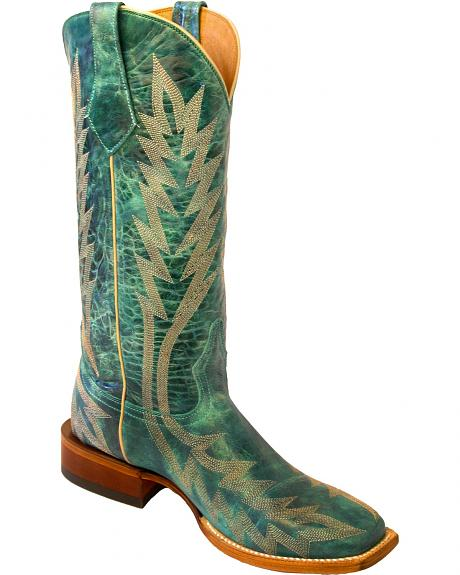 Johnny Ringo Turquoise Embroidered Cowgirl Boots - Square Toe