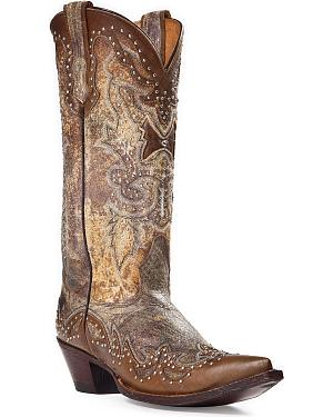 Johnny Ringo Sagrada Studded Cowgirl Boots - Snip Toe