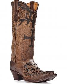 Johnny Ringo Sagrada Cross Inlay Cowgirl Boots - Pointed Toe