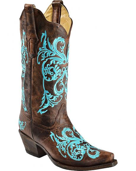 Corral Turquoise Dahila Embroidered Cowgirl Boots - Snip Toe