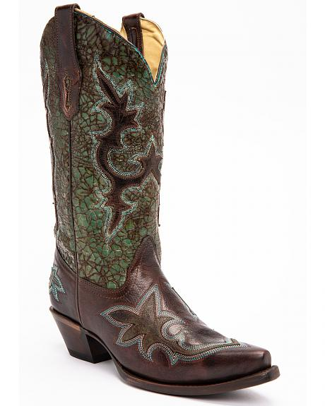 Corral Distressed Turquoise & Chocolate Overlay Cowgirl Boots - Snip Toe