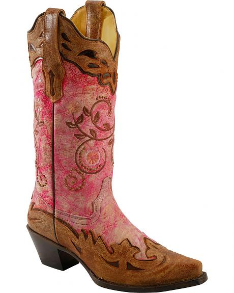 Corral Neon Pink Cognac Overlay Cowgirl Boots - Snip Toe