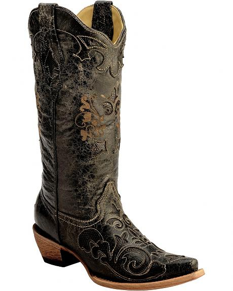 Corral Vintage Distressed Black with Lizard Inlay Cowgirl Boots - Snip Toe
