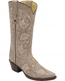 Corral Bone Floral Embroidered Cowgirl Boots - Snip Toe