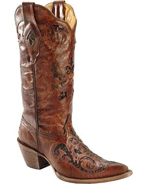 Corral Fango Goat Sequin Inlay Cowgirl Boots - Pointed Toe