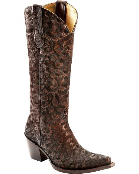 corral black floral lace embroidered boots snip