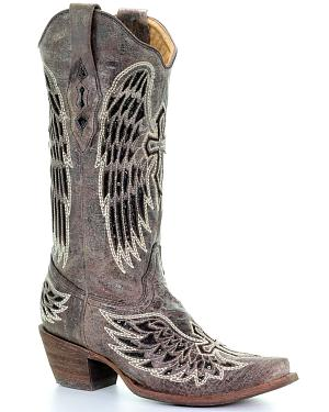 Corral Distressed Black Sequin Cross & Wing Inlay Cowgirl Boots - Snip Toe