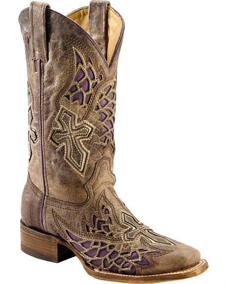 Corral Distressed Purple Side Wing & Cross Inlay Cowgirl Boots - Square Toe