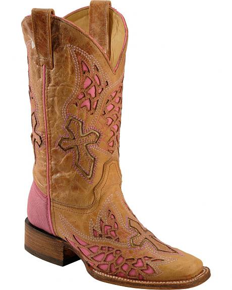 Corral Pink Wing & Cross Inlay Cowgirl Boots - Square Toe