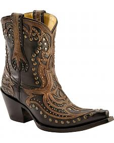 Corral Distressed Brown Overlay Studded Short Boots - Snip Toe