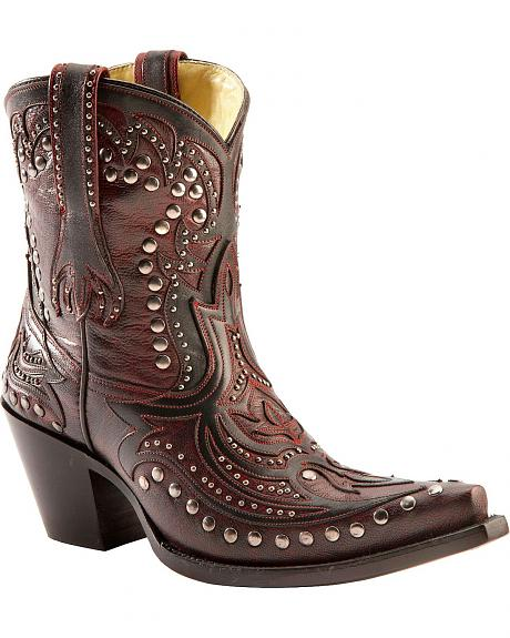Corral Studded Overlay Wine Short Boots - Snip Toe