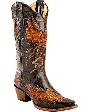 Corral Distressed Eagle Inlay Orange Rhinestone Cowgirl Boots - Snip Toe