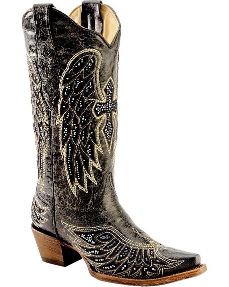 Corral Rhinestone Embellished Cross & Wing Embroidered Cowgirl Boots - Snip Toe