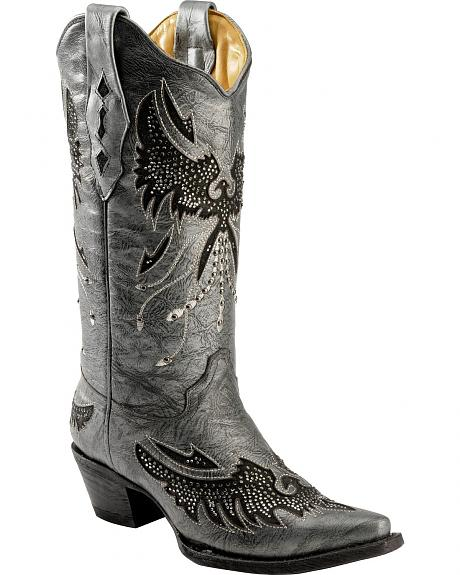Corral Metallic Bedecked Eagle Inlay Cowgirl Boots - Snip Toe