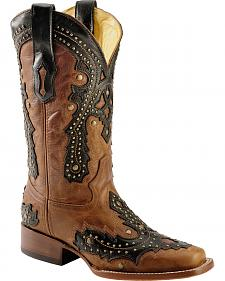 Corral Saltillo Studded Overlay Cowgirl Boots - Square Toe