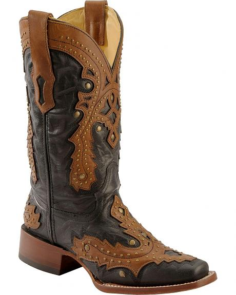 Corral Saltillo Golden Overlay Studded Cowgirl Boots - Square Toe