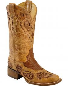 Corral Tan Teju Lizard Inlay Cowgirl Boots - Square Toe