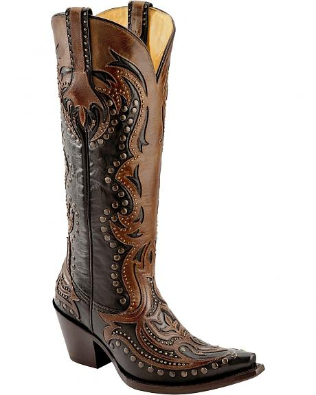 Corral Cognac Overlay Studded Cowgirl Boots - Snip Toe