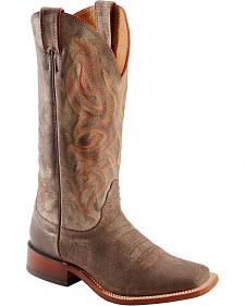 Nocona Distressed & Embroidered Cowgirl Boots - Square Toe