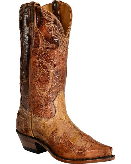 Boulet Puma Tan Lamb with Inlay Cowgirl Boots - Snip Toe