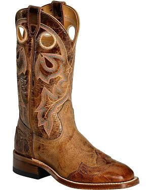 Boulet Puma Tan with Wingtip Overlay Cowgirl Boots - Square Toe