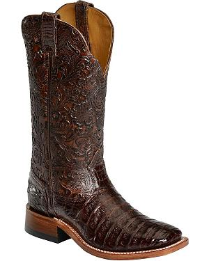 Boulet Chocolate Hand Tooled Caiman Cowgirl Boots - Square Toe