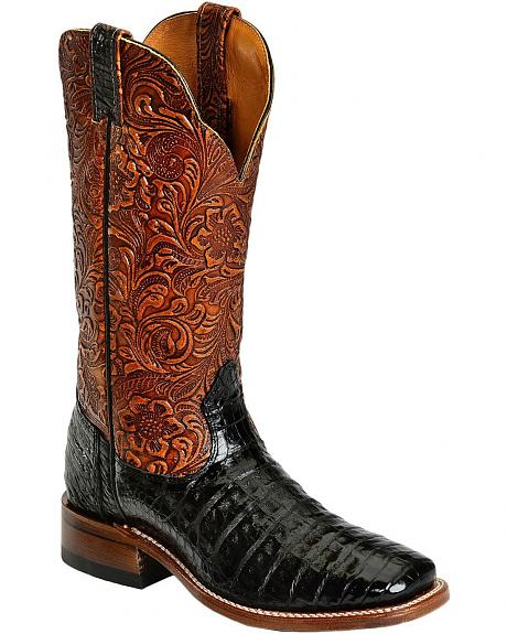 Boulet Black Hand Tooled Caiman Cowgirl Boots - Square Toe