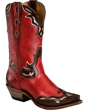 Boulet Red Iridescent Inlay Cowgirl Boots - Snip Toe