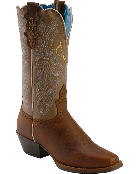 Justin Stampede Rugged Tan Cowgirl Boots - Square Toe